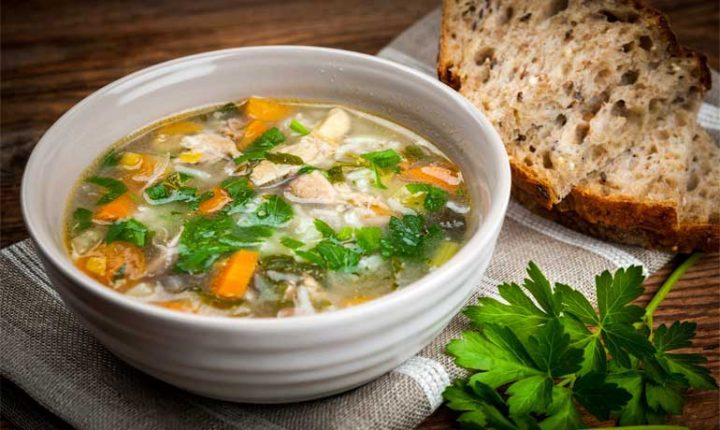 Куриный суп с рисом и овощами