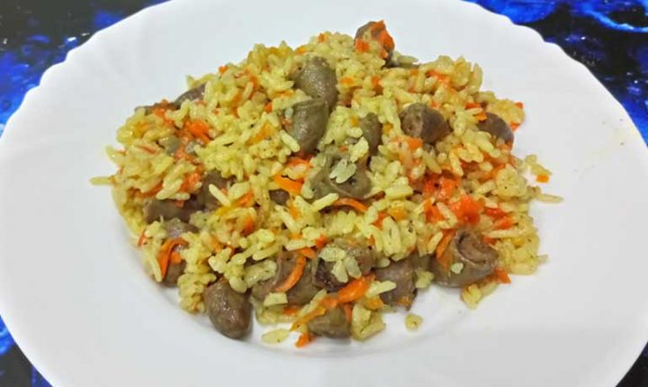 Куриные сердечки с рисом